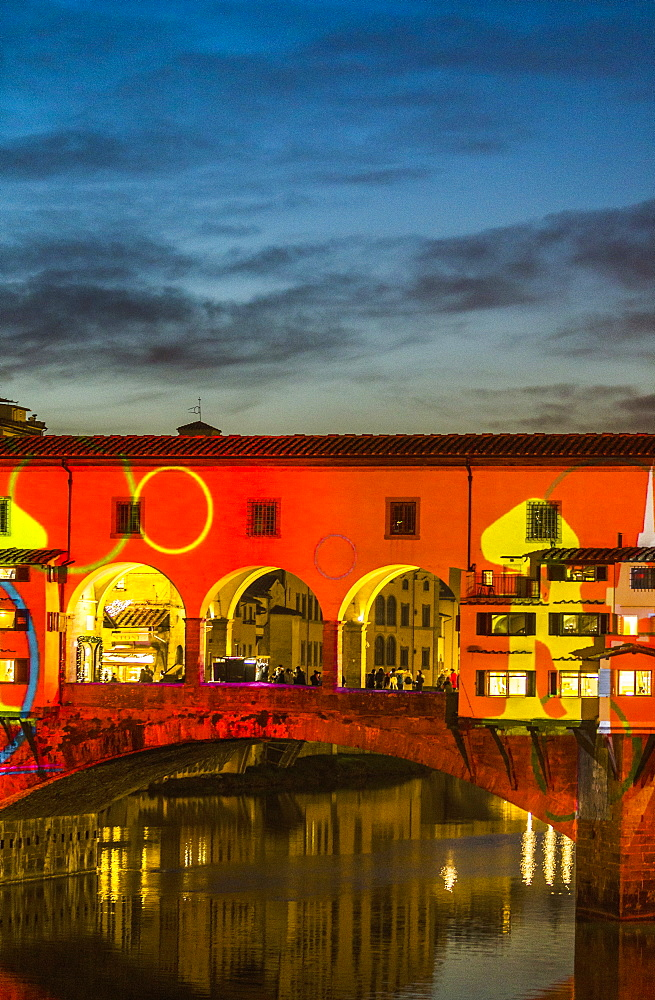 Ponte Vecchio is a medieval stone closed-spandrel segmental arch bridge over the Arno River, in Florence, Italy, noted for still having shops built along it, as was once common. Butchers initially occupied the shops the present tenants are jewelers, art dealers and souvenir sellers.