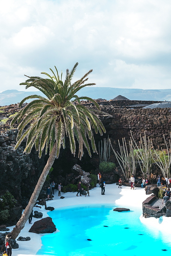 View of pool with turquoise water at Jameos del Agua, Lanzarote, Spain
