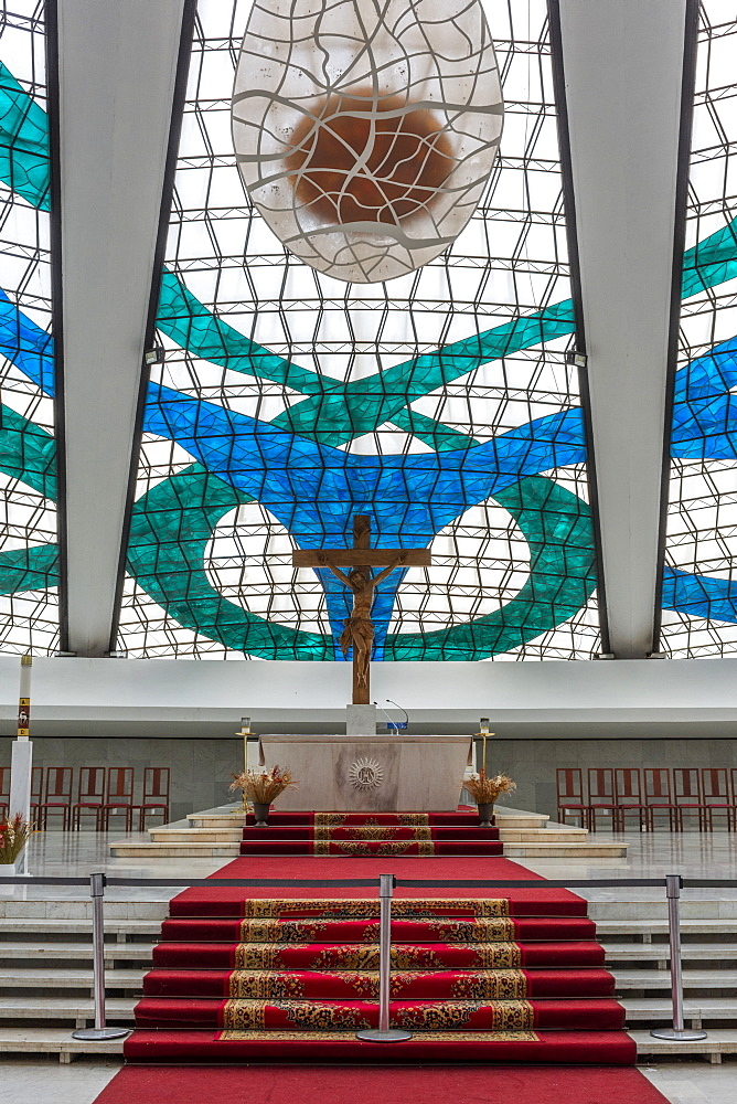 Stained glass windows and altar inside of Brasilia Cathedral, Brasilia, Brazil