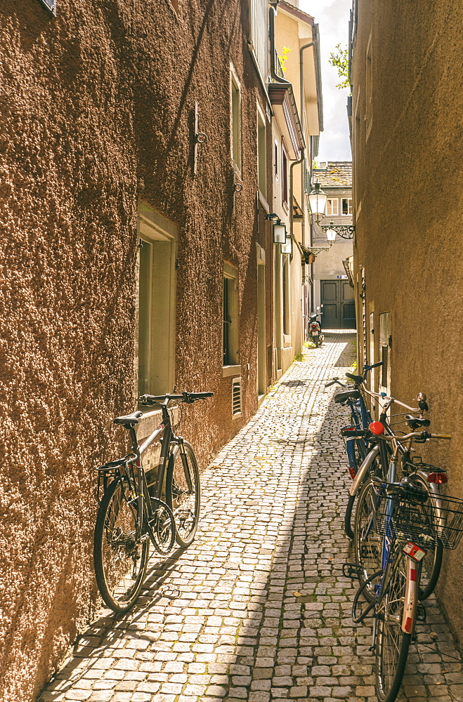 Picturesque old town lane with bicycles, Zurich, Switzerland