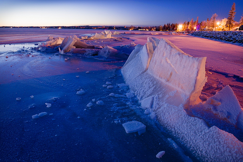 Ice Pushed Up By The Lake; Pigeon Lake Alberta Canada