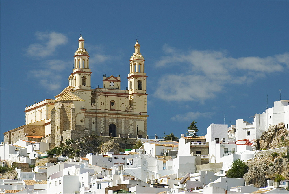 Olvera Church With White Houses In C√°diz Province, Andalucia, Spain