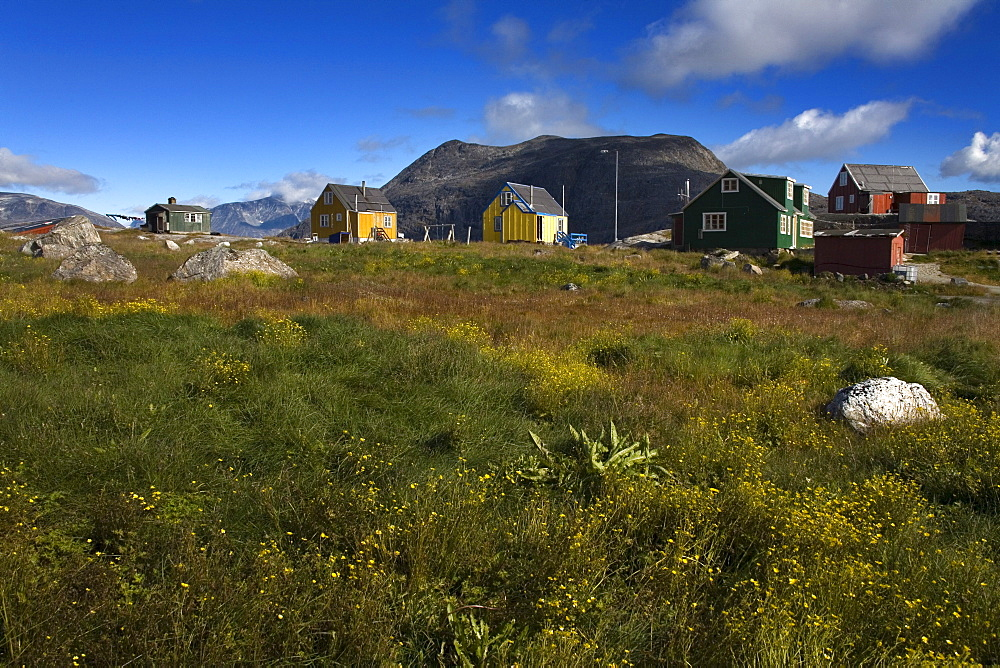 Colorful Houses, Port Of Nanortalik, Island Of Qoornoq, Province Of Kitaa, Southern Greenland, Kingdom Of Denmark