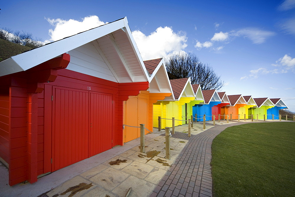 Colorful Beach Huts, Scarborough, North Yorkshire, England