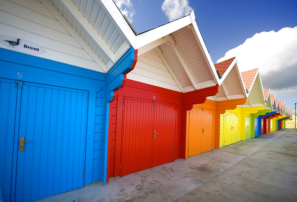 Colorful Beach Huts, Scarborough, England, Europe