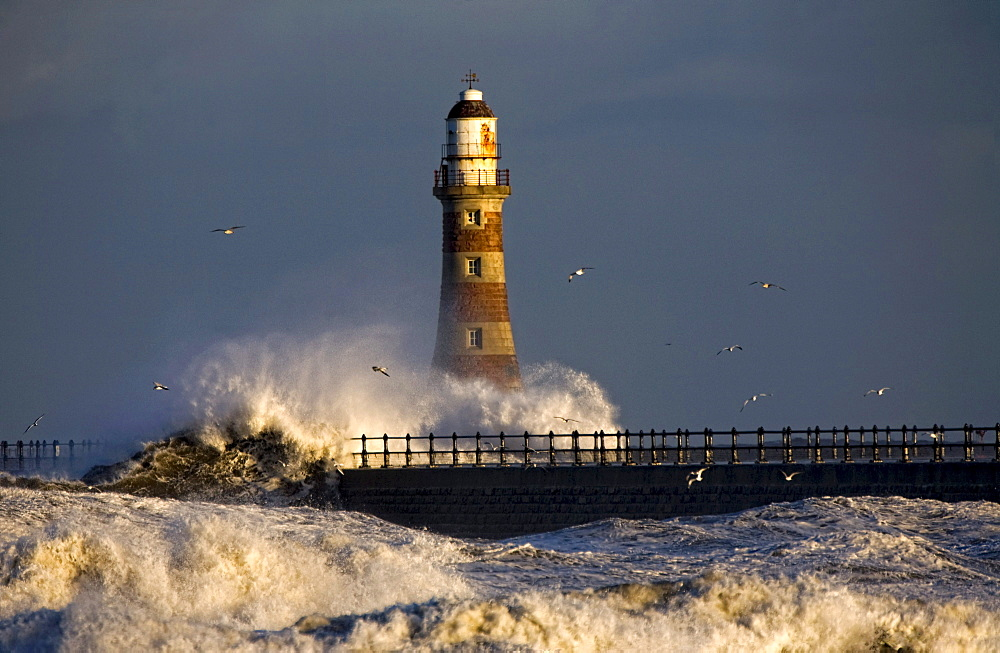 Lighthouse And Waves, Sunderland, Tyne And Wear, England