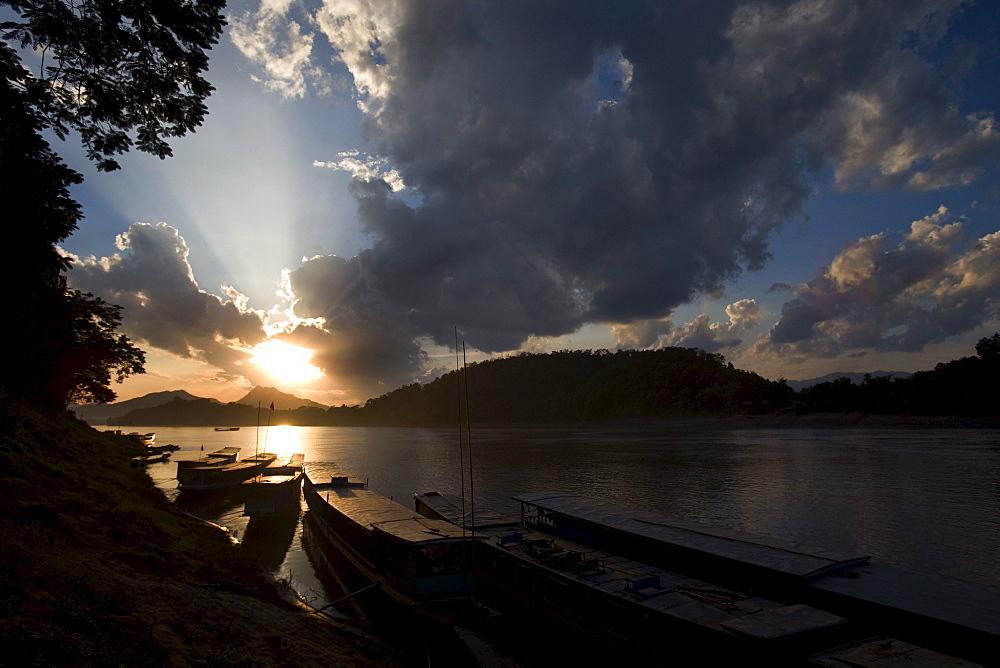 Wooden River Boats, Mekong River, Luang Prabang, Laos
