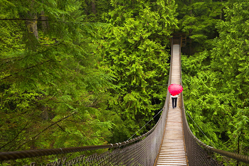 Woman With A Red Heart-Shaped Umbrella Crossing The Lynn Canyon Suspension Bridge, North Vancouver; Vancouver, British Columbia, Canada - 1116-39600