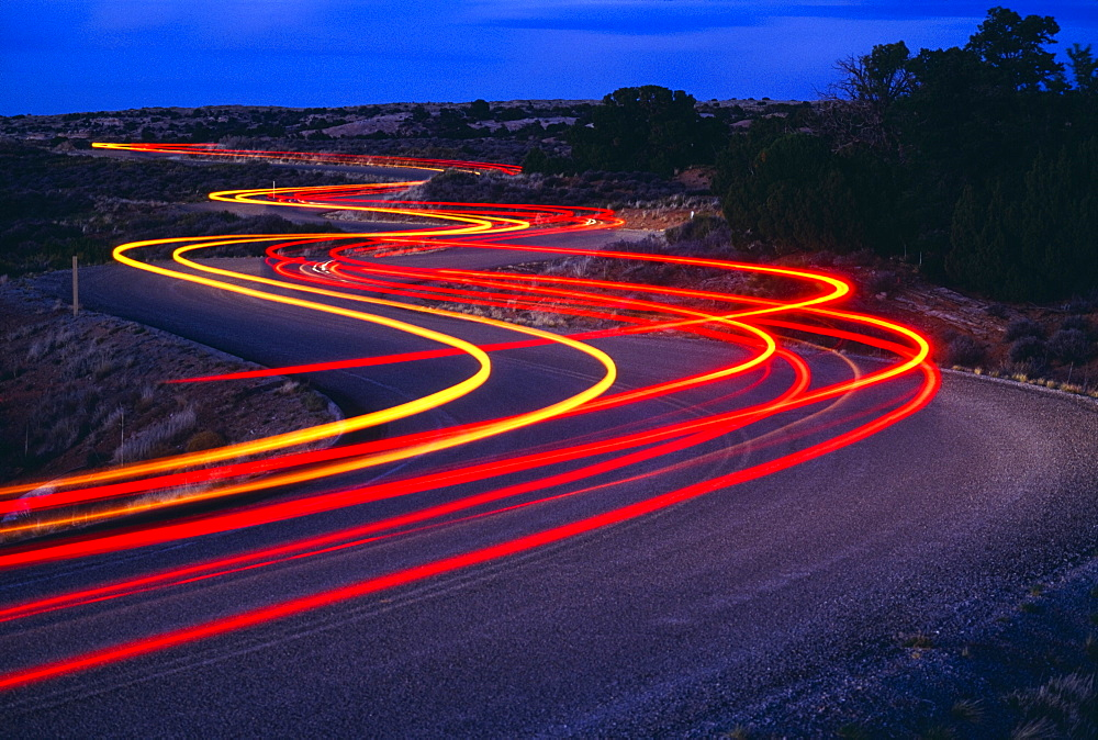 Streaking Car Lights On Road, Utah, Usa