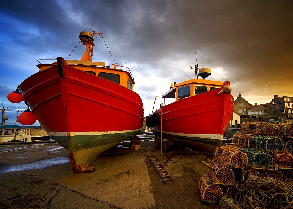 Fishing Boats Out Of The Water For Winter, Northumberland, England