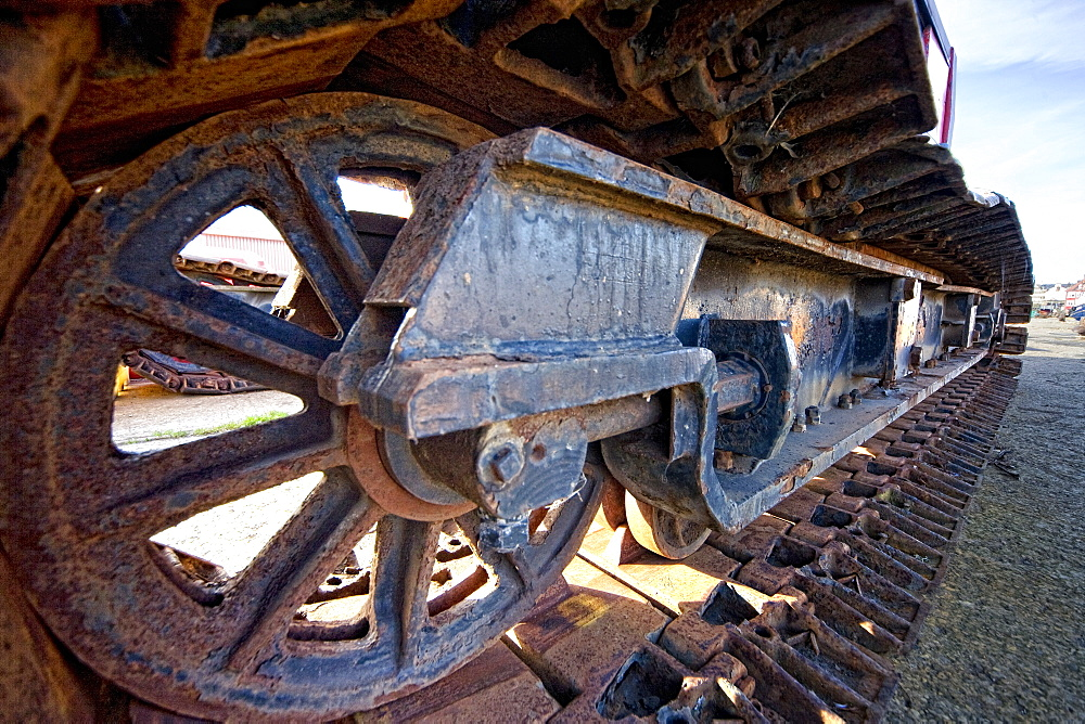 Wheel Of A Tractor Crane, Whitby, West Yorkshire, England, Europe