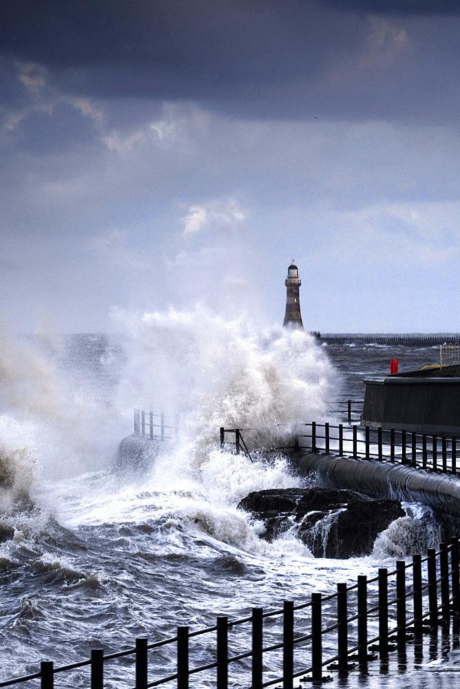 Waves Crashing, Sunderland, Tyne And Wear, England