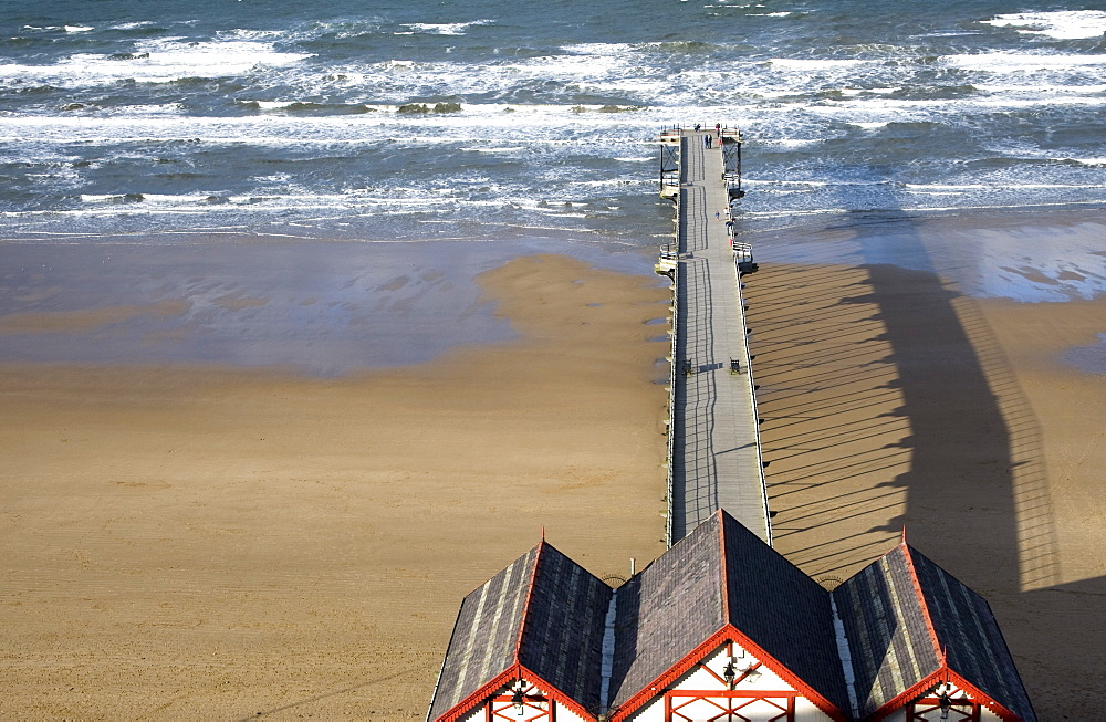 Pier On Beach, Saltburn, North Yorkshire, England