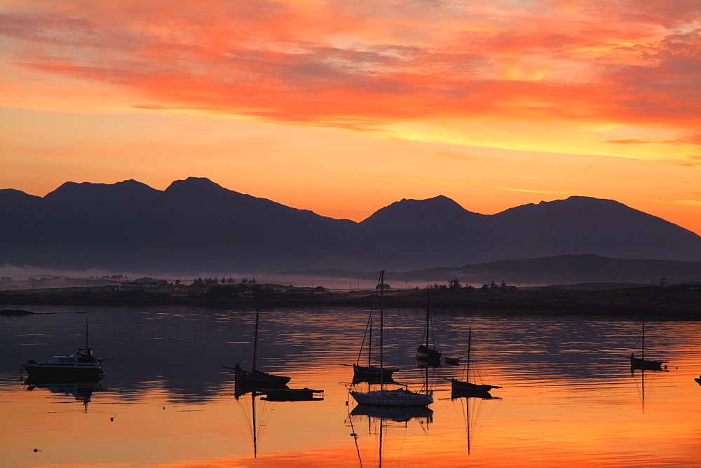 Sunrise At Roundstone Harbour With 12 Bens, Galway, Ireland