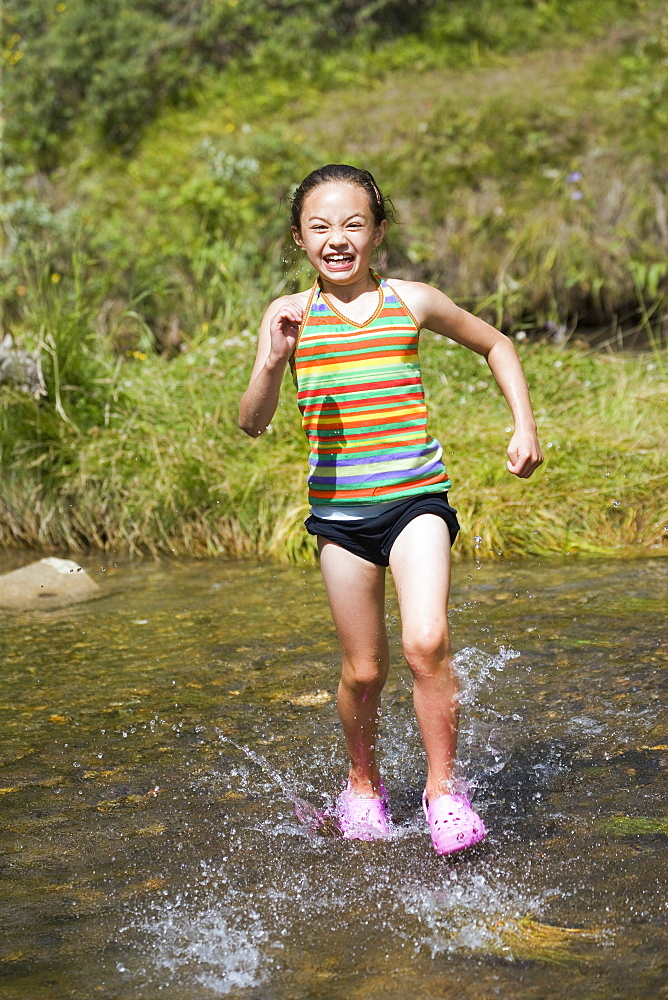 Girl Running In Water