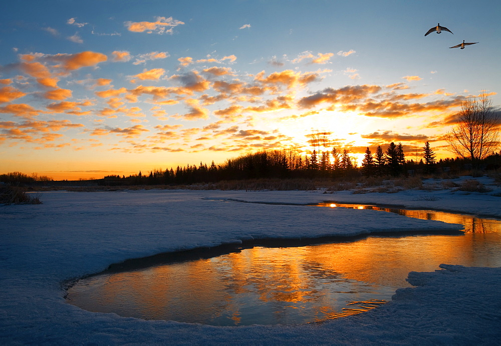 Lake At Sunset, Alberta, Canada