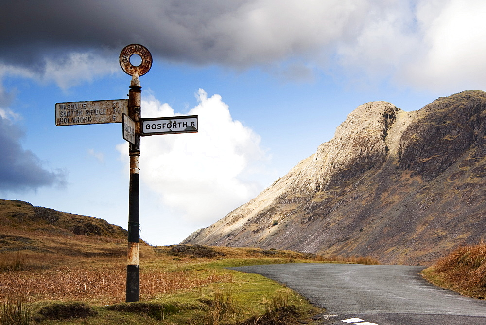 Road Sign, Lake District, Cumbria, England, Europe