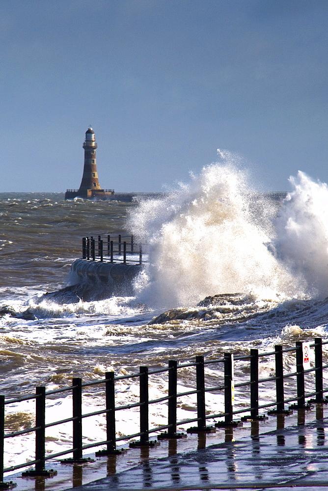 Waves Crashing By Lighthouse At Sunderland, Tyne And Wear, England, United Kingdom