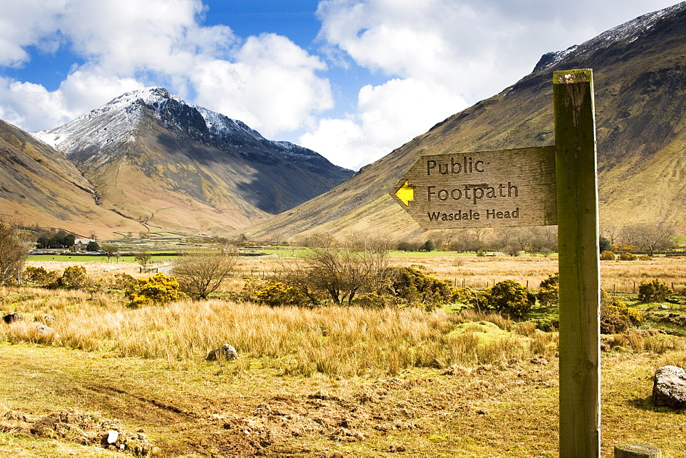 Road Sign In Mountain Landscape, Lake District, Cumbria, England