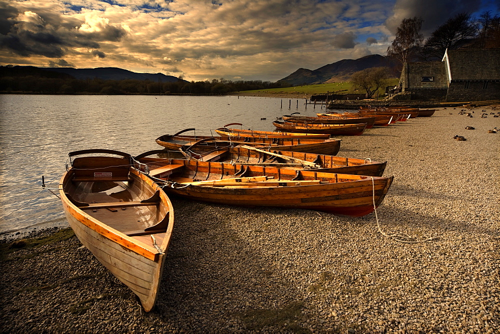 Canoes On The Shore, Keswick, Cumbria, England