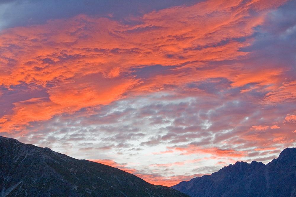 Sunset Over Mountain Range, Mount Cook Range, New Zealand