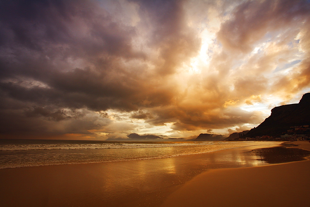 Sunset Over Cloudy Beach, South Africa