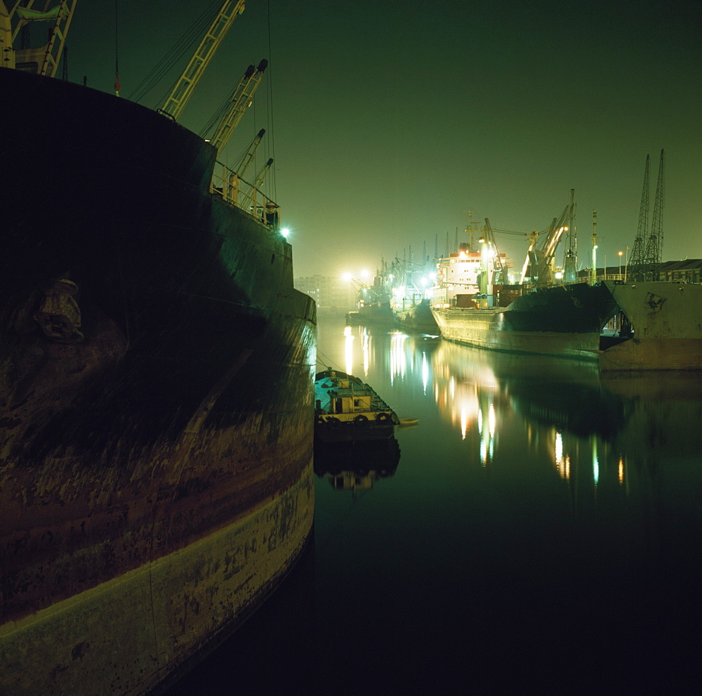 View Of Docks At Nighttime, Dombay, India
