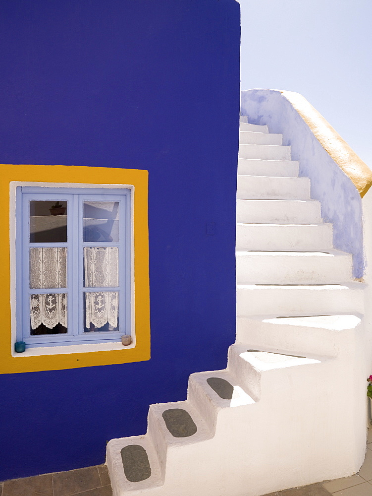 Santorini, Greece, Purple Wall And White Stairs