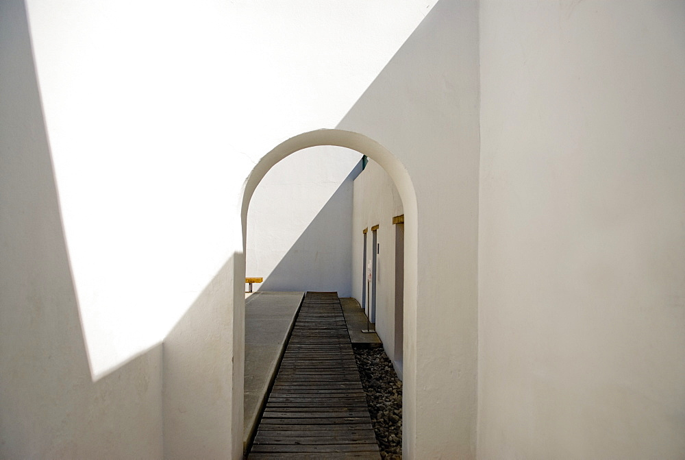 Mexico, White Corridor With Arched Doorway