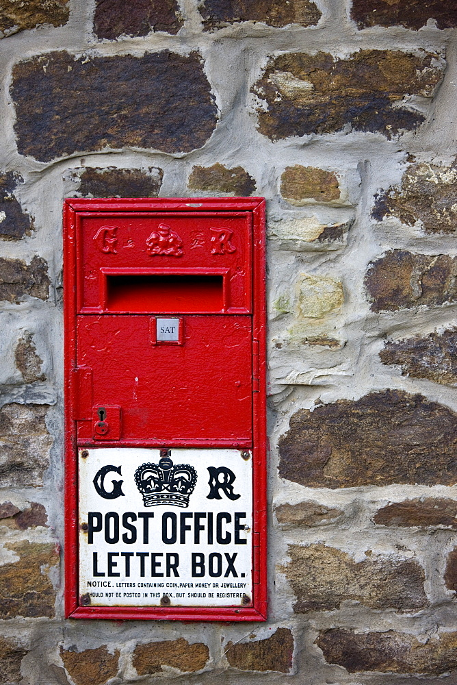 Northumberland, England, Old Fashioned Red Wall Letterbox