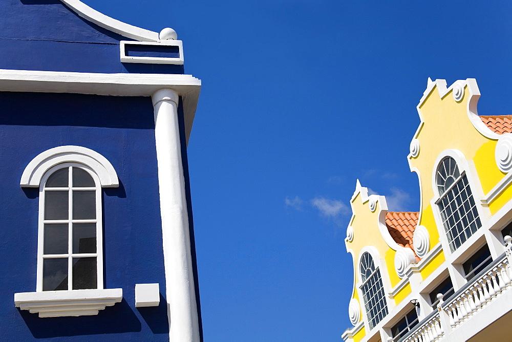Oranjestad City, Aruba, Caribbean, Dutch Colonial Architecture On Main Street