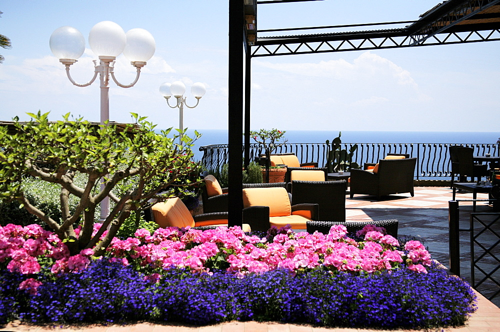 Capri, Italy, Patio Overlooking The Marina Piccola