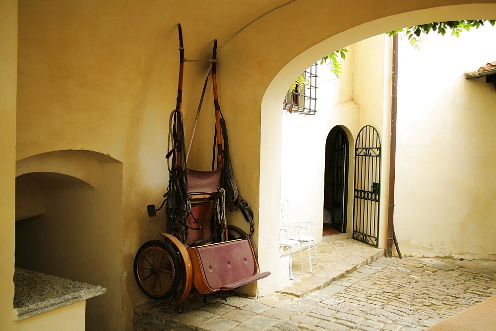 Tuscany, Italy, Horse Drawn Carriage Hanging