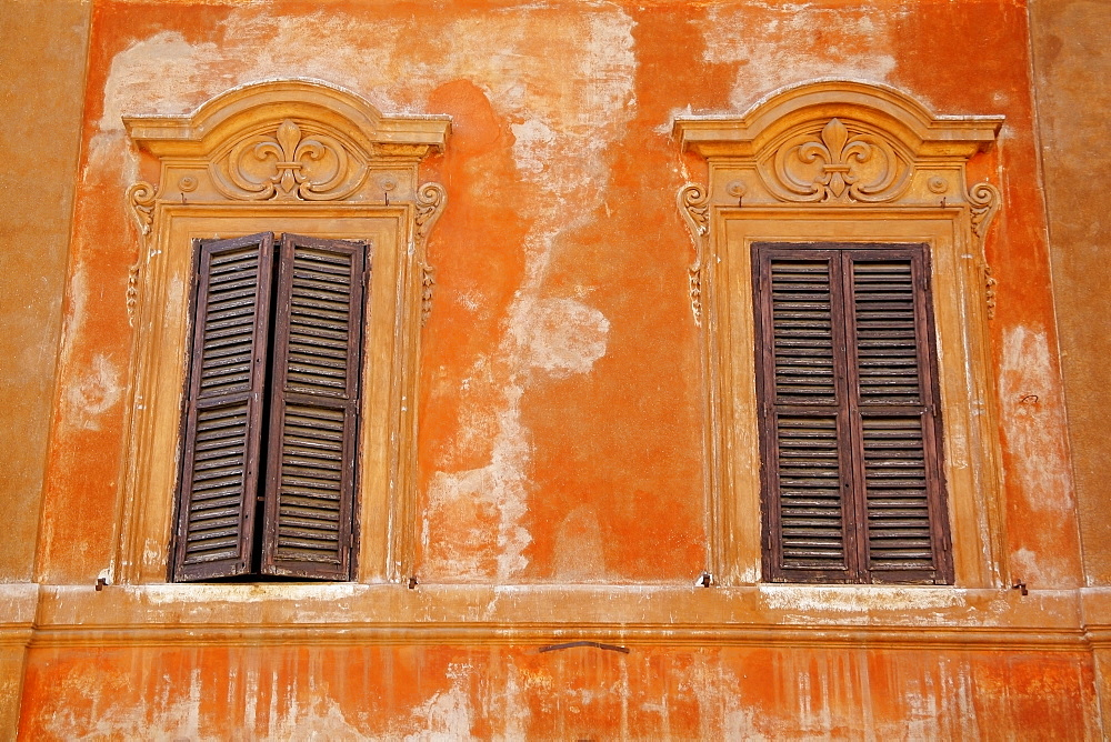Rome, Italy, Two Windows With Shutters