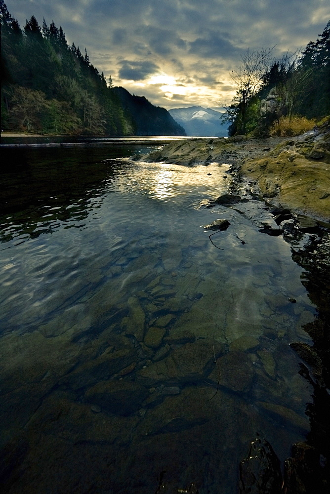 Sun Setting On A River