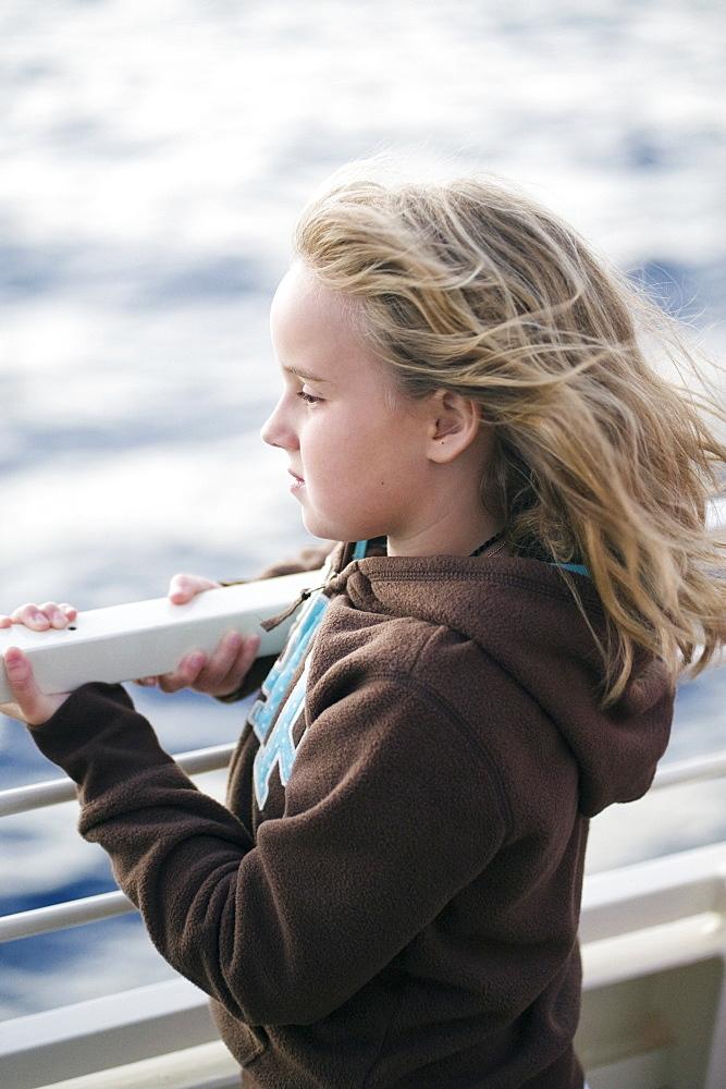 Girl Watching The Water, Maui, Hawaii, Usa