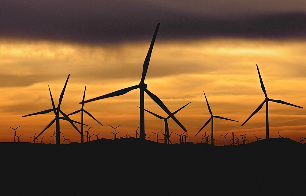 Wind Turbines Against Sunset