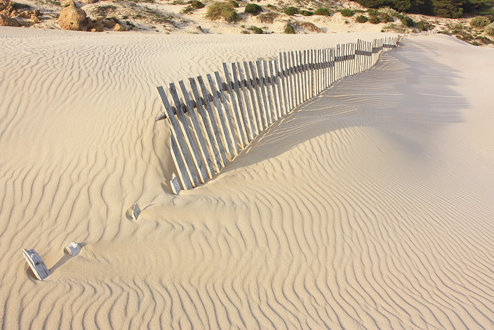 Fence In The Sand, Bolongna, Andalucia, Spain