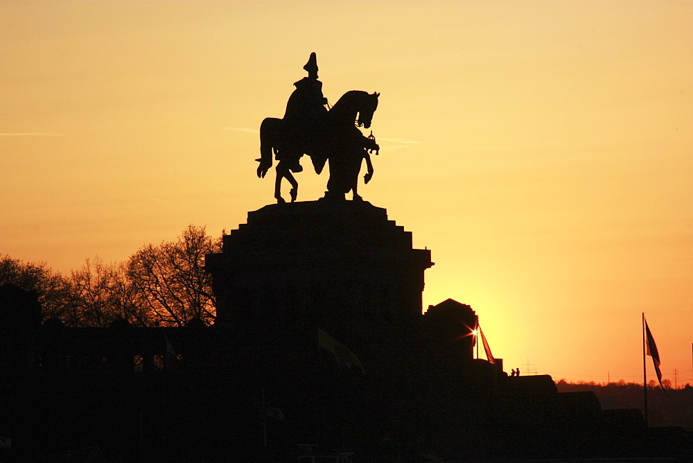 Silhouette Of Statue Of Man On A Horse