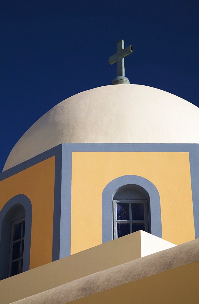 Fira, Santorini, Greece, White Domed Chapel Of The Catholic Church
