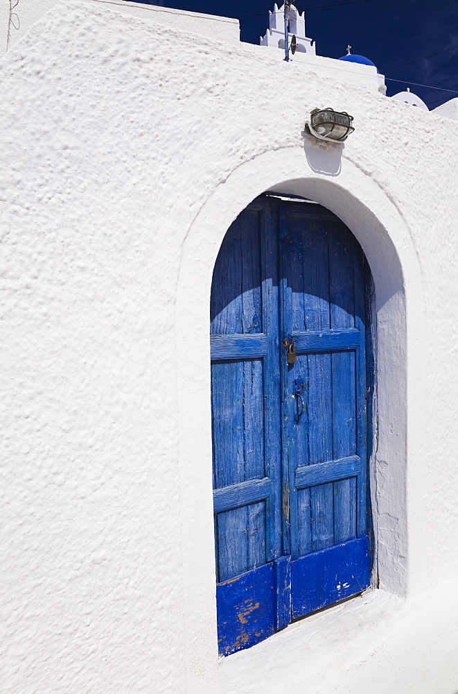Archway With Old Wooden Blue Painted Doors, Pyrgos Village, Santorini, Greece