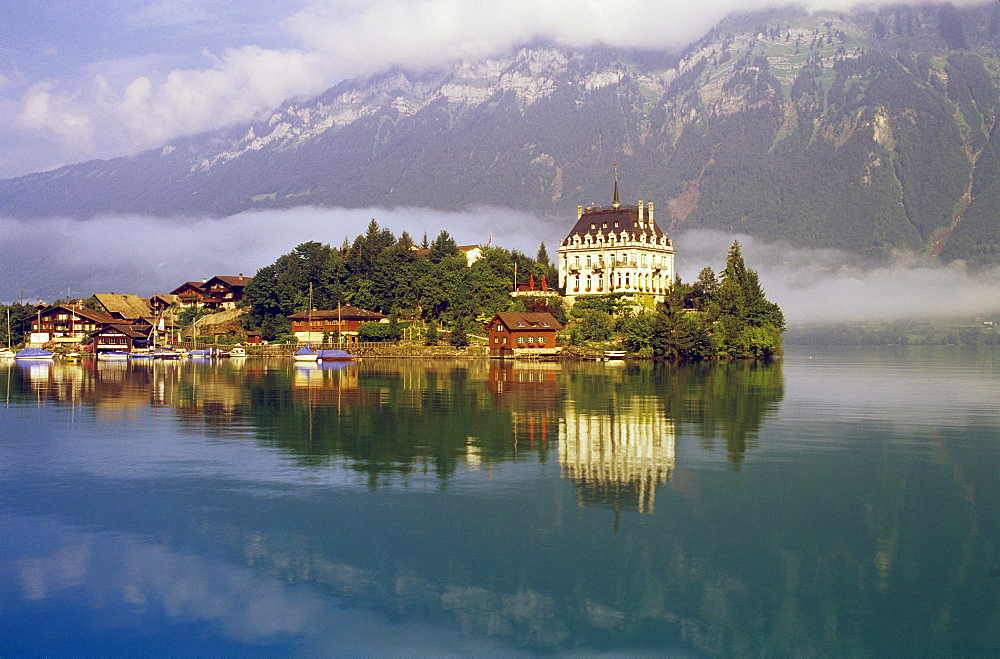 Scenic Mountain Lake And Town