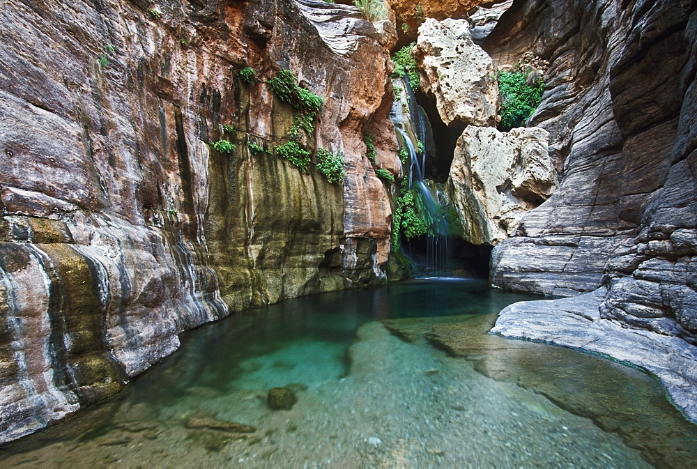 Waterfall And Pool, Elves Chasm, Grand Canyon National Park, Arizona, Usa