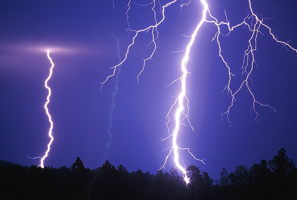Lightning Bolts In Night Sky