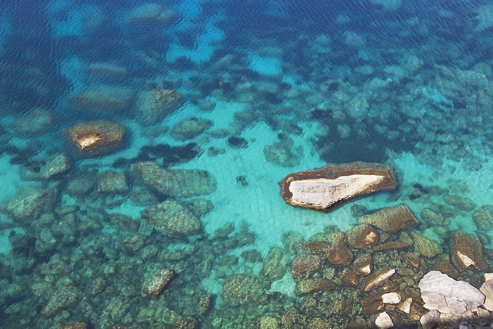 Bonifacio, Corsica, France, View Of Aqua Blue Water And Rocks