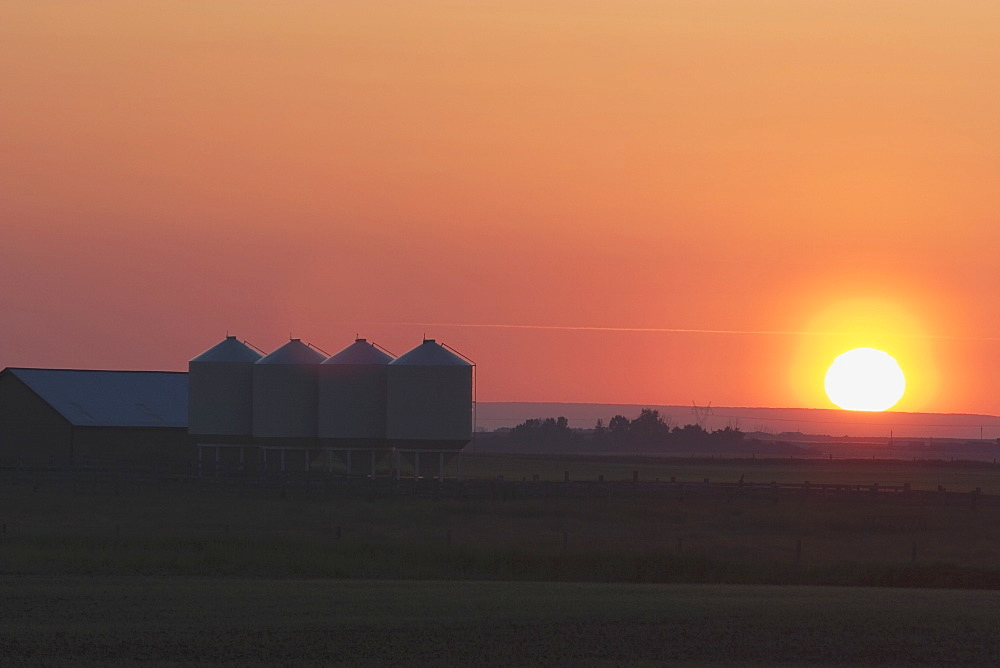 Farmyard And Grain Silos South Of High River, Alberta, Canada