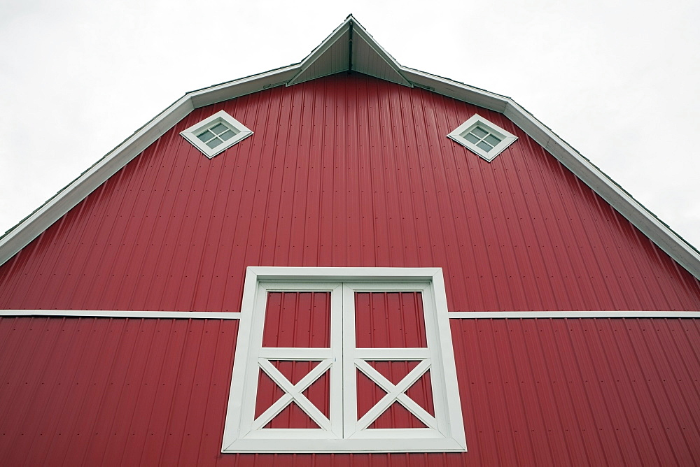Alberta, Canada, Red Barn With White Trim