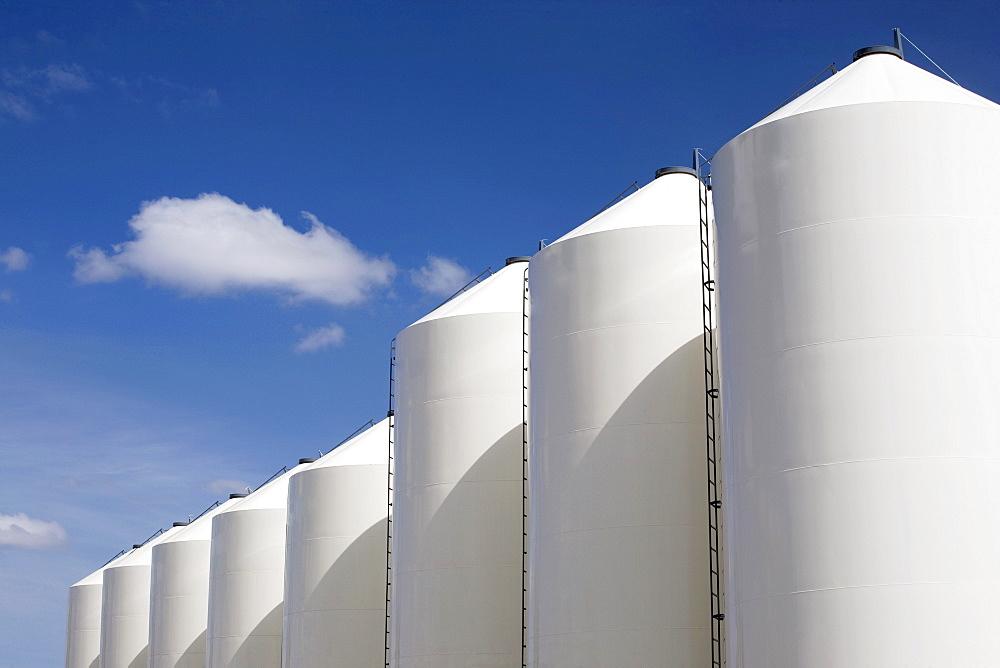 Alberta, Canada, Large White Grain Bins