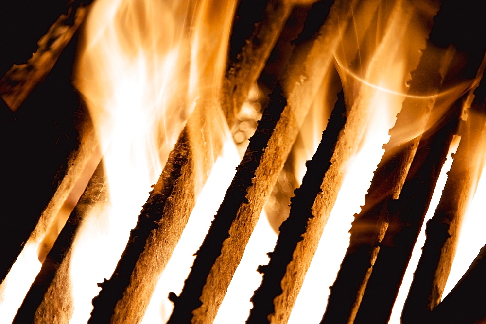 Flames Coming Up Between The Grill, Edmonton, Alberta, Canada