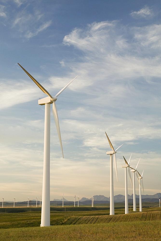 Pincher Creek, Alberta, Canada, Wind Turbines In A Row